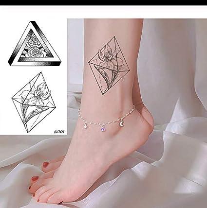 LFVGUIOP Diamante Flora Tatuajes Pegatinas Línea del Tobillo ...