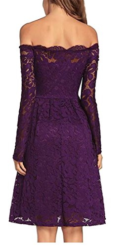 Off Purple Line Casual Pleated Long A Shoulder Womens Lace Dress Splice Cruiize Sleeve vqSAAI