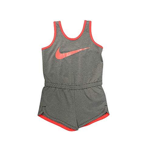 Nike Girls Dri-Fit Sports Romper (Grey pin Stripe, 6X Big) (Nike Pins)