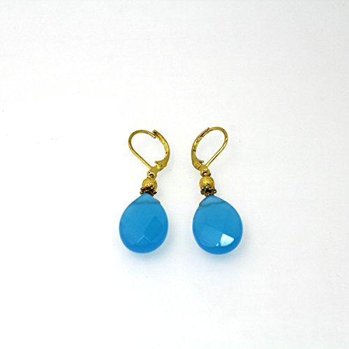Handmade Gold Plated Natural Cur Chalcedony Stone Drop Dangle Leverback Earrings (Leverback Chalcedony Earring)