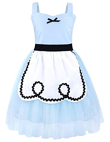 Cotrio Alice Anime Costume Halloween Party Fancy Dress Toddler Cosplay Outfit an Apron Size 2T (90, Blue)