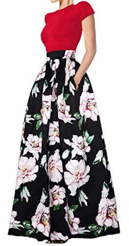 Delcoce Women's Summer Tops Skirt Set Floral Print Maxi Dresses with Pockets Set L