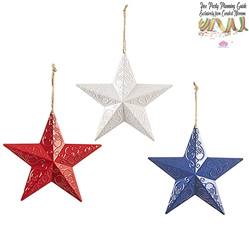 Country Americana 3D Metal Stars Wall, Door, Window and Barn Decor 8 Size | Set of 3 Red, White and Blue for 4th of July or Patriotic Celebration