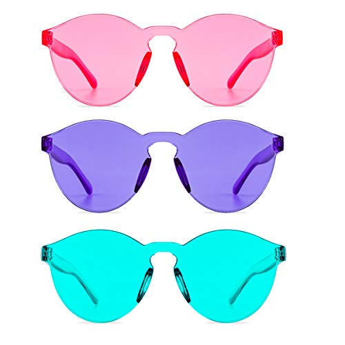 One Piece Rimless Sunglasses Transparent Candy Color Tinted Eyewear (Lake Blue+Purple+Pink, thin) (Cheap Eyewear)