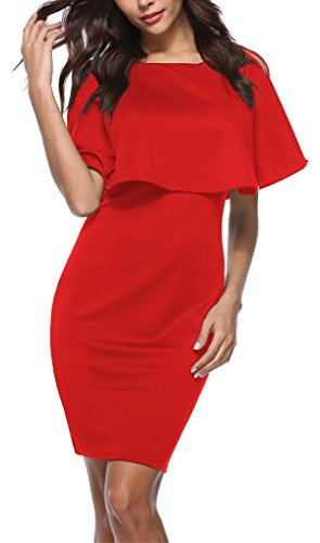 Kancystore Women Casual O Neck Slim Fit Stretch Pencil Dress Red - Date Valentines