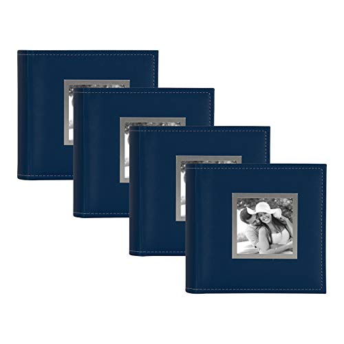 DesignOvation Sleek Faux Leather Navy Blue Photo Album, Holds 100 4x6 Photos, Set of 4
