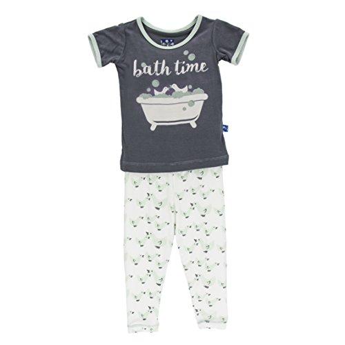 KicKee Pants Little Boys Print Short Sleeve Pajama Set, Natural Ducks, 12 - 18 Months