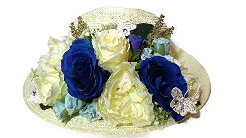 Womens Sun Hatつば人工花カラフルな帽子サマービーチキャップ特別な時間も。ハンドメイド B01LZPGRVP