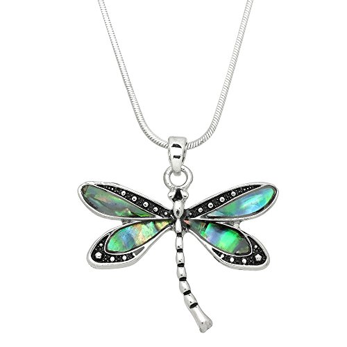 Liavy's Dragonfly Charm Pendant Fashionable Necklace - Abalone Paua Shell - 17
