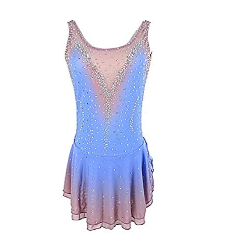 Figure Skating Dress Women's Girls' Ice Skating Dress Blue Open Back Halo Dyeing Spandex Micro-Elastic Professional Competition Skating Wear Handmade Sequin Sleeveless,Blue-XL