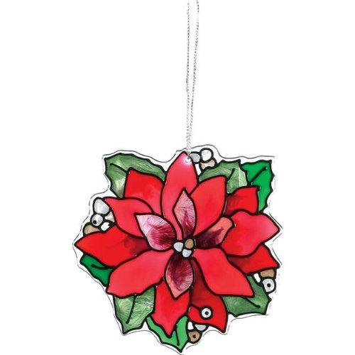 Dainty Poinsettia Painted Glass Ornament/Suncatcher By Joan Baker (Glass Christmas Suncatcher Stained)