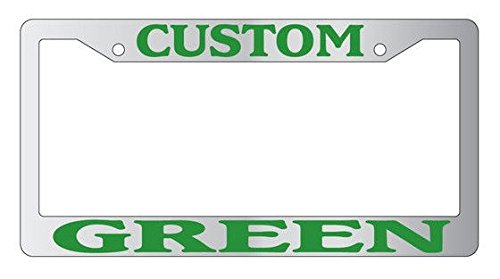 - Personalized Chrome License Plate Frame (Green)