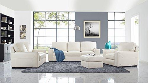 Natuzzi Matera Stationary Leather Sofa, Cream