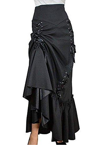 de3af983c Burvogue Women s Gothic Vintage Lace High Low Steampunk Skirt