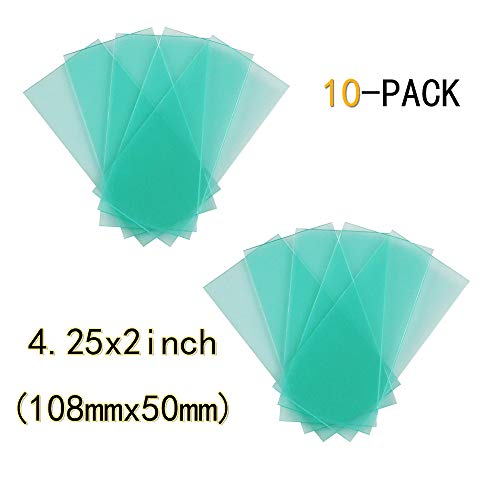 10-PACK automatic variable light welding protection lens replacement 4.25x2 inch (108mm x 50mm) transparent cover lens cover for solar automatic variable light filter 3/11