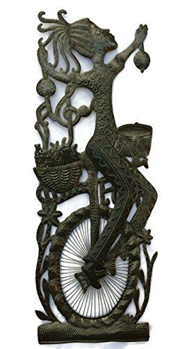 Girl on a Bike, Patio Garden Decoration, Metal Art Haiti 17'' X 33'' by it's cactus - metal art haiti