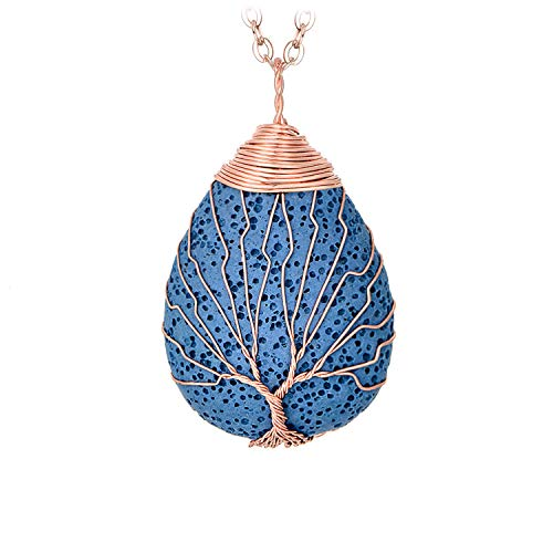 Gold Natural Stone Pendants - Lava Rock Tear Drop Healing Crystal Necklace Handmade Wire Wrapping Tree of Life Pendant Rose Gold Plated Natural Stone Essential Oil Jewelry Birthday Gift for Women Men Blue