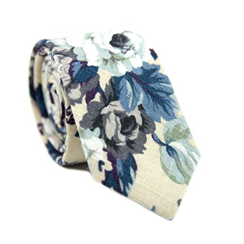 DAZI Men's Skinny Tie Floral Print Cotton Necktie, Great for Weddings, Groom, Groomsmen, Missions, Dances, Gifts. (Dreamy Fields)