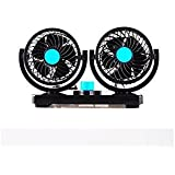 Double Head Windmill With Electric Fan 12v Truck Car car Bread Fan Electric Car Fan 360 Degree Rotatable 2 Speed Dual Head Car Auto Cooling Air