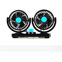 Zhao&ans Double Head Windmill With Electric Fan 12v Truck Car car Bread Fan Electric Car Fan 360 Degree Rotatable 2 Speed Dual Head Car Auto Cooling Air