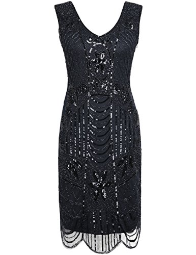 - PrettyGuide Women 1920s Flapper Dress Gatsby Sequin Scalloped Inspired Cocktail Dress,Pure Black,18/20 Plus