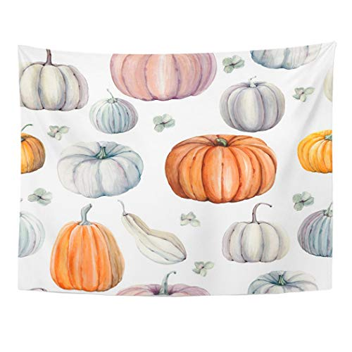 Tarolo Decor Wall Tapestry Autumn Watercolor Pumpkins It is Thanksgiving Halloween Recipe Food Gourd 80 x 60 Inches Wall Hanging Picnic for Bedroom Living Room Dorm -