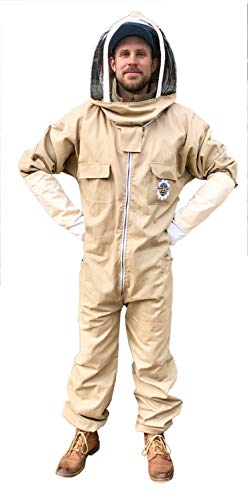 - Honey Bee Safe Tan Beekeeper Suit Beekeeping Coverall with Detachable Hooded Veil in 100% Cotton in Bee Calming Colors and Supple Leather Gloves (XXXLarge)