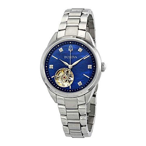 Ladies Automatic Diamond Watch - Bulova Automatic Watch (Model: 96P191)
