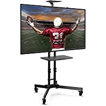 Loctek P3B Universal Mobile TV Stand TV Cart with Height Adjustable shelf and flat screen mount – Fits 32 to 65 inches LED, LCD TVs with Max VESA size 600x400mm