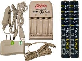 Battery Charger 3Hr For Aa/Aaa & 12V Car Plug & 8 Aaa 1100 Mah Acculoop-X Batteries (Low Discharge) by Sunbeam (Image #1)