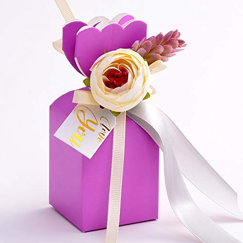 Moleya Pack of 20 pcs DIY Wedding Favors Candy Boxes with Ribbon and Flower for Engagement, Bridal Shower Party, Elegant Purple