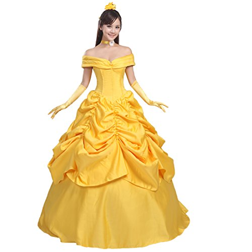 Ainiel Women's Cosplay Costume Princess Dress Yellow Satin (XL, Style 2) -