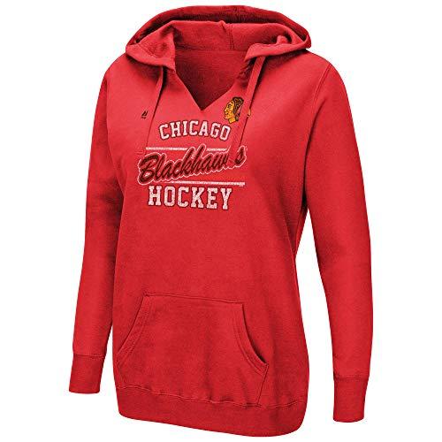 Majestic NHL Women's Raise The Level V-Neck Pullover Fleece Hoodie (Medium, Chicago Blackhawks) ()