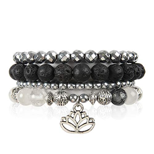 RIAH FASHION Bohemian Lava Stone Hematite Essential Oil Diffuser Multi Strand Bracelet - Healing Aroma Therapy Beaded Natural Volcano Rock Stretch Bangles (Lotus - White & Black Jade)