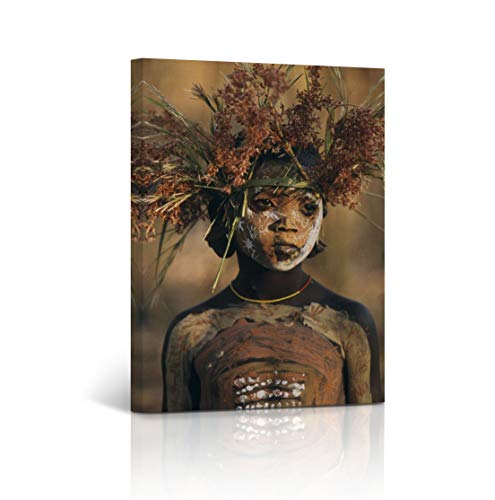 Buy4Wall Aboriginal African Kid Wall Art Canvas Print Picture Oil Painting Decorative Art Home Decor Artwork Stretched and Framed - Ready to Hang -%100 Handmade in The USA 12x8