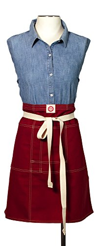 Raw Materials Design Bistro Apron, Made in USA, Sierra Red Canvas