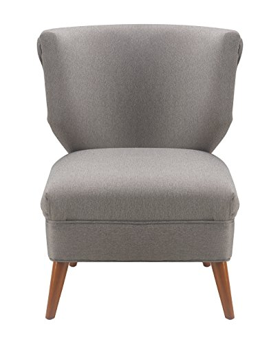 Elle Decor Elle Décor Amelie Accent Chair, Gray - Designed as an elegant accent to the amelie sofa and Loveseat from Elle Decor Show off your sophisticated taste with the Elle Decor amelie accent chair Curvy contoured butterfly Back adds chic detail to your home or office - living-room-furniture, living-room, accent-chairs - 415UxIk9HVL -