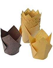 Lystaii 200pcs Tulip Cupcake Liner Baking Cups Paper Cupcakes Muffin Baking Cups for Birthday Wedding Party Baby Showers Brown and Natural