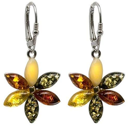 Sterling Silver Multicolor Amber Flower Leverback Earrings ()