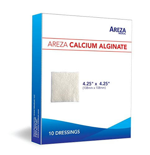"Calcium Alginate 4.25"" x 4.25"" 10/Box ( 10 Wound Dressings per Box) One Box by Areza Medical"