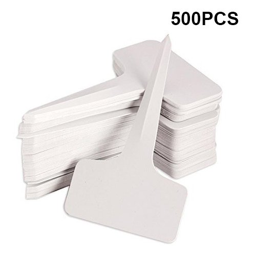 KINGLAKE 500 PCS 6 x10cm Plastic Waterproof Plant Nursery Garden Labels T-type Tags Markers Plant Stakes Re-Usable Plant Tags by KINGLAKE