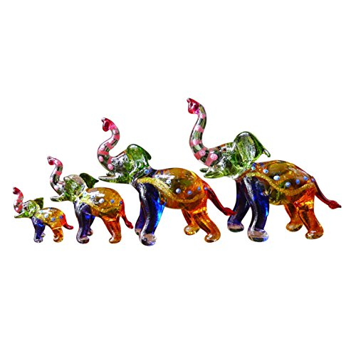 Sansukjai Set 4 Elephant Figurines Animals Hand Painted Multi-color Hand Blown Glass Art Collectible Gift Decorate - Lucky Elephant Art Glass Figurine