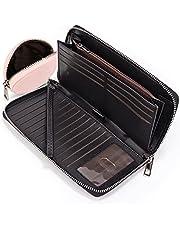 UTO Women Wallet Large Leather Zip Around Card Holder Checkbook Passport Organizer Ladies Travel Clutch with Wristlet CA
