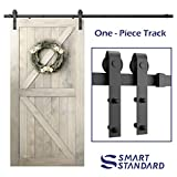 "SmartStandard 8ft Heavy Duty Sliding Barn Door Hardware Kit - Smoothly and Quietly - Simple and Easy to install - Includes Step-By-Step Installation Instruction -Fit 42""- 48"" Door Panel (J shape)"