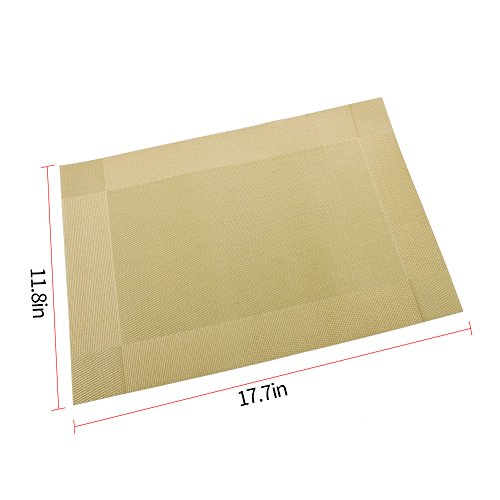 Orangehome Set of 6 Placemats,Placemats for Dining Table,Heat-resistant Placemats, Stain Resistant Washable PVC Table Mats,Kitchen Table mats(Gold) by Orangehome (Image #5)