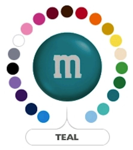 (M&M's Teal Milk Chocolate Candy 1LB)