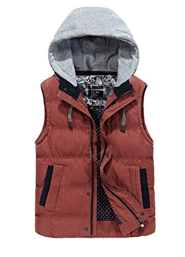 WANSHIYISHE-Men Quilted Padded Active Thicken Detachable Hoodie Puffer Vest Four US M