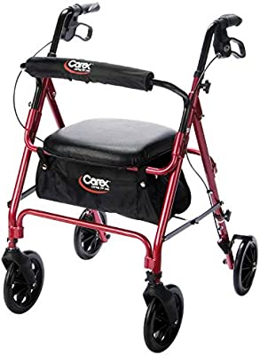 Fine Carex Rollator Walker With Seat Height Adjustable Adult Walker With Seat And Wheels Supports Up To 250 Lbs Bralicious Painted Fabric Chair Ideas Braliciousco