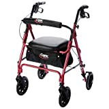 Carex Deluxe Walker with Seat and Wheels, Rollator Walker With Seat, Height Adjustable Handles, Folds for Storage & Transport, 250 Pound Weight Capacity