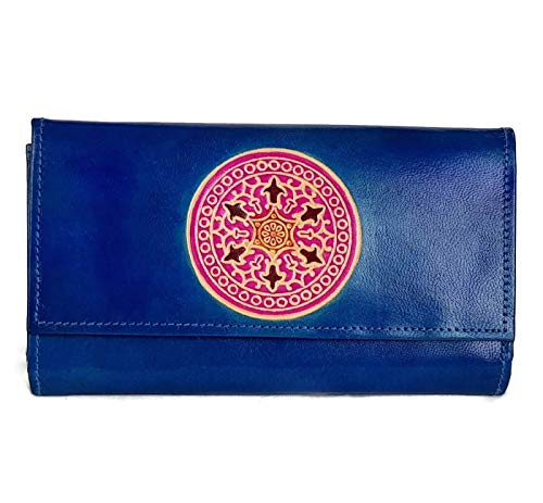 Tarini Womens real Leather wallet Blue Mandala handcrafted clutch